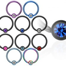 Anodized titanium ball closure ring with zircon